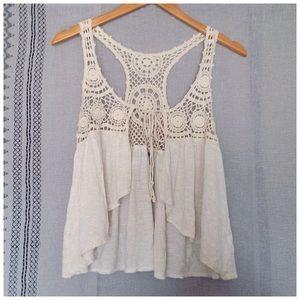 'Tanner' Crochet Tie-Front Open Bohemian Vest